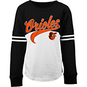 5th & Ocean Youth Girls' Baltimore Orioles White/Black Three-Quarter Sleeve Shirt