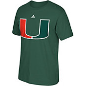 adidas Men's Miami Hurricanes Green Huge Logo T-Shirt