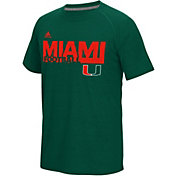 adidas Men's Miami Hurricanes Green Sideline Grind Football Short Sleeve T-Shirt