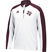 adidas Men's Texas A&M Aggies White/Maroon Sideline Long Sleeve Quarter-Zip Shirt