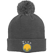 adidas Youth Golden State Warriors Cuffed Pom Grey Knit Hat