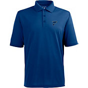 Antigua Men's St. Louis Blues Xtra-Lite Pique Performance Blue Polo