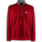 Antigua Men's Montreal Canadiens Leader Red Quarter-Zip Pullover Jacket