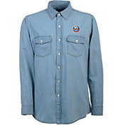 Antigua Men's New York Islanders Chambray Button-Up Shirt