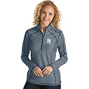 Antigua Women's New York Yankees Navy Tempo Quarter-Zip Pullover