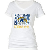 boxercraft Women's Kent State Golden Flashes Perfect Fit V-Neck White T-Shirt