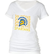 boxercraft Women's San Jose State Spartans Perfect Fit V-Neck White T-Shirt