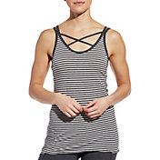CALIA by Carrie Underwood Women's Flow Strappy Front Neck Striped Tank Top