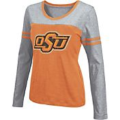 Colosseum Athletics Women's Oklahoma State Cowboys Black Leap Scoop Neck Long Sleeve Shirt