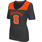 Colosseum Athletics Women's Syracuse Orange Grey Twist V-Neck T-Shirt