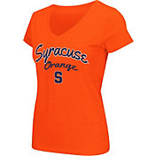 Colosseum Athletics Women's Syracuse Orange Script Graphic V-Neck Orange T-Shirt