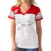 G-III For Her Women's Wisconsin Badgers White/Red Pass Rush T-Shirt