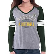 G-III for Her Women's Green Bay Packers Tri-Blend Franchise Grey Long Sleeve Shirt