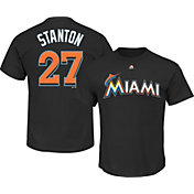 Majestic Men's Miami Marlins Giancarlo Stanton #27 Black T-Shirt