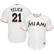 Majestic Men's Replica Miami Marlins Christian Yelich #21 Cool Base Home White Jersey