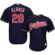Majestic Men's Replica Cleveland Indians Corey Kluber #28 Cool Base Alternate Navy Jersey