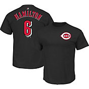 Majestic Triple Peak Men's Cincinnati Reds Billy Hamilton Black T-Shirt