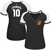Majestic Women's Baltimore Orioles Adam Jones #10 Black/White Raglan V-Neck T-Shirt