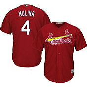 Majestic Youth Replica St. Louis Cardinals Yadier Molina #4 Cool Base Alternate Red Jersey