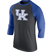 Nike Men's Kentucky Wildcats Grey/Blue Baseball Tri-Blend Logo Raglan Shirt