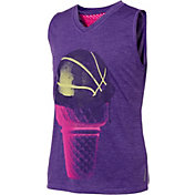 Reebok Girls' Mesh Back Basketball Cone Graphic Muscle Tank Top