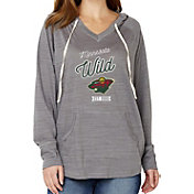 Soft As A Grape Women's Minnesota Wild Grey V-Neck Hoodie