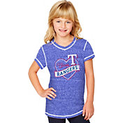 Soft As A Grape Youth Girls' Texas Rangers Royal V-Neck Shirt
