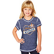 Soft As A Grape Youth Girls' Houston Astros Navy V-Neck Shirt