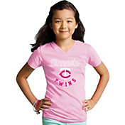 Soft As A Grape Youth Girls' Minnesota Twins Pink V-Neck Shirt