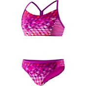 Speedo Girls' Illusion Cubes Splice Racer Back Camikini
