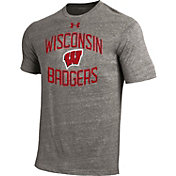 Under Armour Men's Wisconsin Badgers Grey On Field Tri-Blend T-shirt