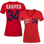 5th & Ocean Women's Washington Nationals Bryce Harper #34 Red Tri-Blend V-Neck T-Shirt