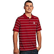 Antigua Men's Houston Rockets Deluxe Red Striped Performance Polo