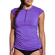 CALIA by Carrie Underwood Women's Lace Back Cap Sleeve Rash Guard
