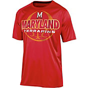 Champion Men's Maryland Terrapins Red Impact Basketball T-Shirt