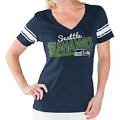 Touch by Alyssa Milano Women's Seattle Seahawks Foil V-Neck T-Shirt