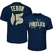 Majestic Men's Columbia Fireflies Tim Tebow #15 Navy T-Shirt