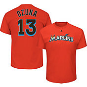 Majestic Men's Miami Marlins Marcell Ozuna #13 Orange T-Shirt