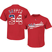 Majestic Men's Washington Nationals Bryce Harper #34 Red Americana T-Shirt