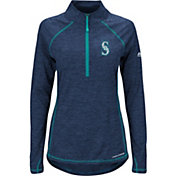 Majestic Women's Seattle Mariners Cool Base Navy Half-Zip Pullover