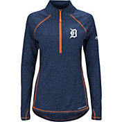 Majestic Women's Detroit Tigers Cool Base Navy Half-Zip Pullover