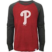 Majestic Youth Philadelphia Phillies Red/Grey Raglan Three-Quarter Sleeve Shirt