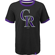 Majestic Youth Colorado Rockies Ringer Black T-Shirt