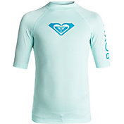 Roxy Girls' Whole Hearted Short Sleeve Rash Guard
