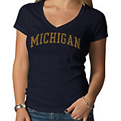 '47 Women's Michigan Wolverines Blue V-Neck T-Shirt