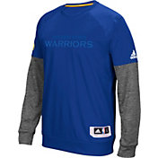 adidas Men's Golden State Warriors On-Court Royal/Grey Long Sleeve Shooting Shirt