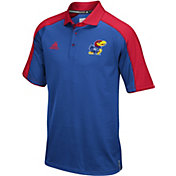 adidas Men's Kansas Jayhawks Blue/Red Sideline Performance Polo
