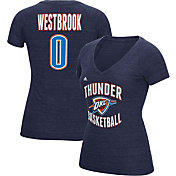 adidas Women's Oklahoma City Thunder Russell Westbrook #0 Navy Tri-Blend V-Neck T-Shirt