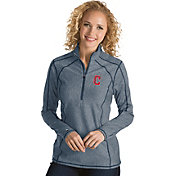 Antigua Women's Cleveland Indians Navy Tempo Quarter-Zip Pullover