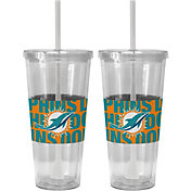 Boelter Miami Dolphins Bold Sleeved 22oz Straw Tumbler 2-Pack
